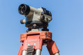 Surveyor Tripod Automatic Level Lens Blue Royalty Free Stock Photo