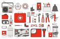 Survival emergency kit for evacuation vector objects set on white background Royalty Free Stock Photo