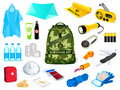 Survival kit backpack and in case of the nature disasters Stock Images