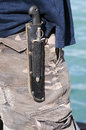 Survival knif an hunting knife carry by a man on his belt outdoor Stock Images