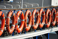 Survival rings from a lifeboat in barcelona Royalty Free Stock Photography