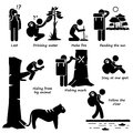 Survival tips guides when lost in the jungle actions cliparts a set of human pictogram representing and action jungles woods Stock Photos