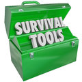 Survival tools toolbox skills knowledge how to survive words in a green metal illustrate learning and gaining on persevere and Stock Photography