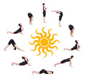 Surya namaskar sun salutation Royalty Free Stock Photography