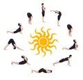 Surya namaskar sun salutation Royalty Free Stock Photo