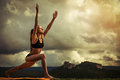 Surya namaskara sun salutation young woman makes yoga exercise Stock Photography