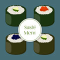 Sushi - asian food with fish, rice, seaweed, caviar. Vector illustration