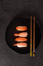 Sushi  assortment on black dish Royalty Free Stock Photo