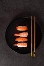 Sushi  assortment on black dish Royalty Free Stock Photo