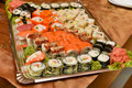 Sushi assortment plate of traditional japanese Royalty Free Stock Image