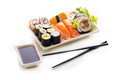 Sushi assortment on white background isolated Stock Photo