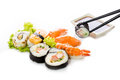 Sushi assortment on white background isolated travel asia Royalty Free Stock Images
