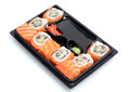 Sushi on black plate Royalty Free Stock Photo