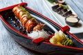 Sushi boat with wasabi.