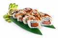 Sushi canada isolated on white background with delicious ingredients Royalty Free Stock Photo