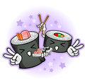 Sushi Characters Holding Chopsticks and Platter Royalty Free Stock Image