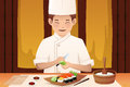 Sushi chef working in a restaurant vector illustration of Stock Images