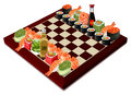 Sushi chess, vector illustration Royalty Free Stock Photo