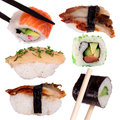 Sushi chopsticks isolated over white background Stock Images