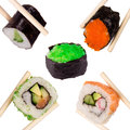 Sushi chopsticks isolated over white background Royalty Free Stock Images