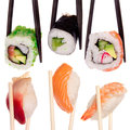 Sushi chopsticks isolated over white background Royalty Free Stock Photography