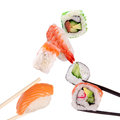 Sushi chopsticks isolated over white background Stock Image
