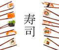 Sushi chopsticks isolated over white background set Royalty Free Stock Images