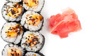 Sushi close up top view of over white background Royalty Free Stock Photography