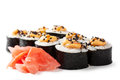 Sushi close up view of isolated over white background Royalty Free Stock Photo