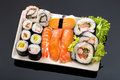 Sushi collection isolated on black background asia cuisine Royalty Free Stock Images