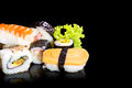 Sushi collection isolated on black background cuisine food Royalty Free Stock Photo