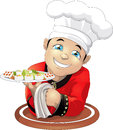 Sushi cook the smiling in red clothes with a land tray Stock Images