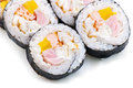 Sushi with Cream Cheese, Cucumber and Spring Onion Royalty Free Stock Photos