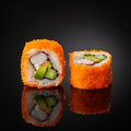 Sushi with cucumber and crab sticks Royalty Free Stock Photo