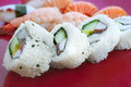 Sushi with differend kinds of fresh fish Stock Photography
