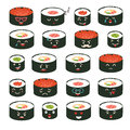Sushi emoji vector set. Emoji sushi with faces icons. Sushi roll funny stickers