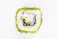 Sushi with fish and green caviar top view Royalty Free Stock Photo