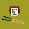 Sushi food and chopsticks vector illustration.