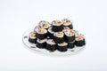 Sushi fresh maki rolls isolated on white background Royalty Free Stock Image