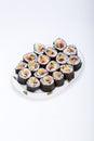 Sushi fresh maki rolls isolated on white background Stock Photography