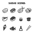 Sushi icons mono vector symbols Stock Images