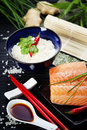 Sushi ingredients raw salmon filet with other Stock Photo