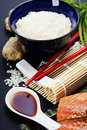Sushi ingredients raw salmon filet with other Royalty Free Stock Image