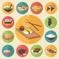 Sushi, Japanese cuisine, food icons set, flat