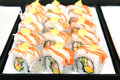 Sushi japanese food close up in tray Stock Photos