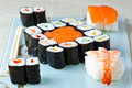 Sushi japanese food and sashimi Royalty Free Stock Photo