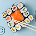 Sushi japanese food and sashimi Royalty Free Stock Image