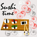 Sushi, Japanese food on a wooden background..