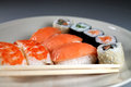 Sushi japanese plate with chopsticks Royalty Free Stock Images