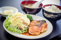 Sushi japanese yummy dish meat fish salmon delicious the fish filet food decoration wasabi saba rice soup salad Stock Photos